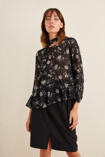 Siyah Volanlı Desenli Bluz