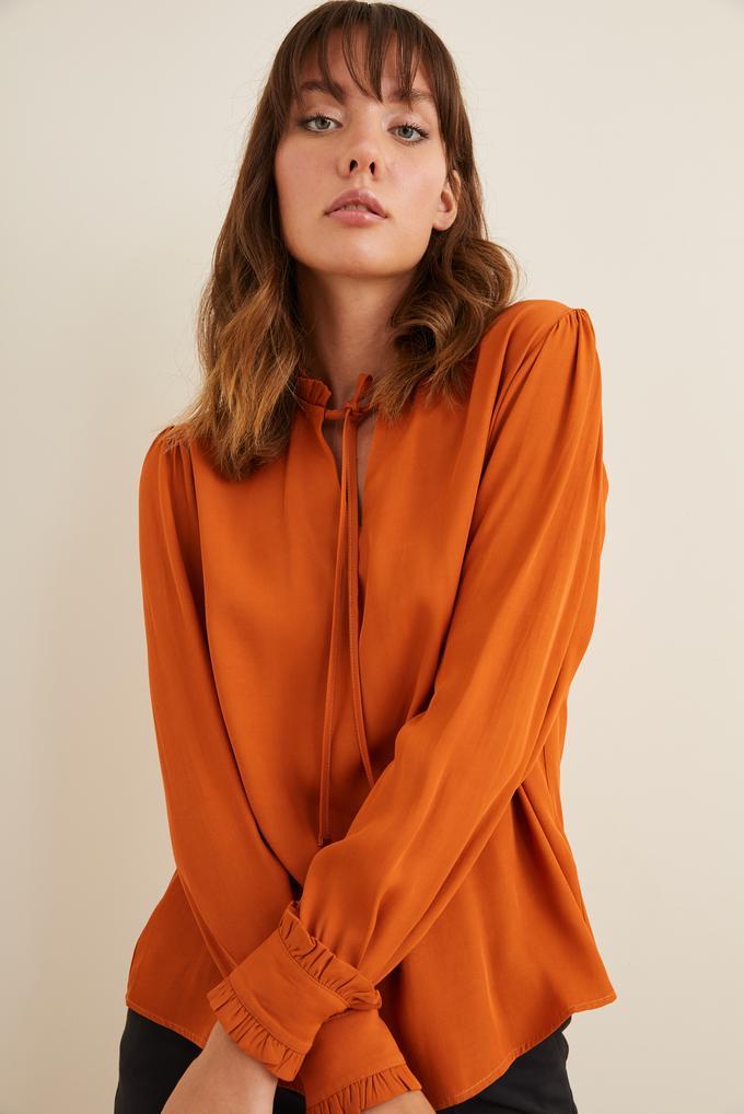 Turuncu Manşeti Fırfırlı Bluz