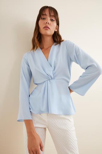 Mavi Büzgülü Bluz