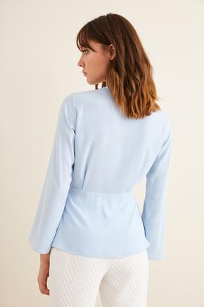 Mavi Kruvaze Uzun Kollu Bluz