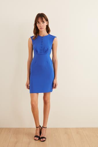 Mavi Önü Düğmeli Dar Elbise