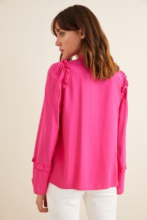 Pembe Fırfırlı Yakası Fularlı Bluz