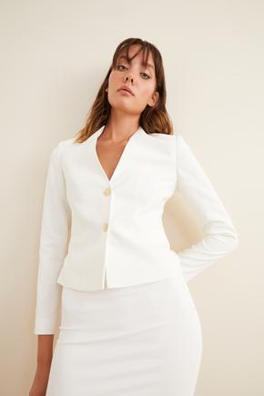 Bej Şık Düğmeli Blazer Ceket