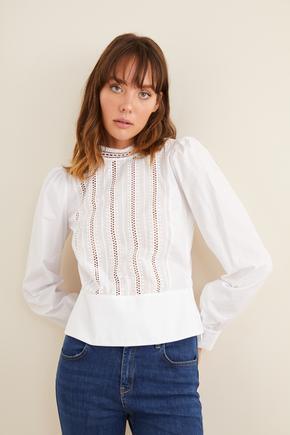 Beyaz Güpürlü Peplum Bluz