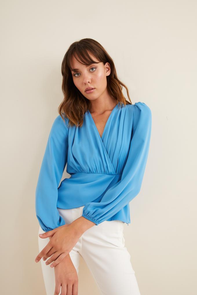Mavi Peplum Kruvaze Bluz