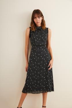 Yakası İncili Desenli Elbise
