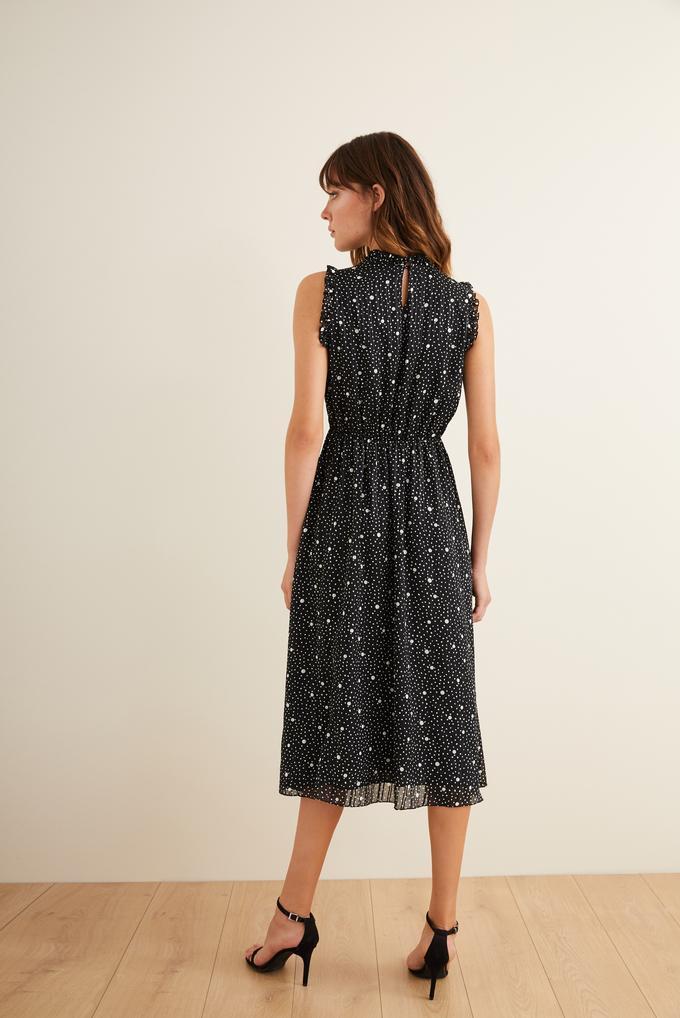 Siyah Yakası İncili Desenli Elbise