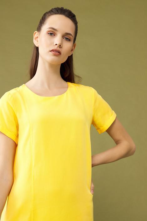 Sarı Yırtmaçlı Elbise