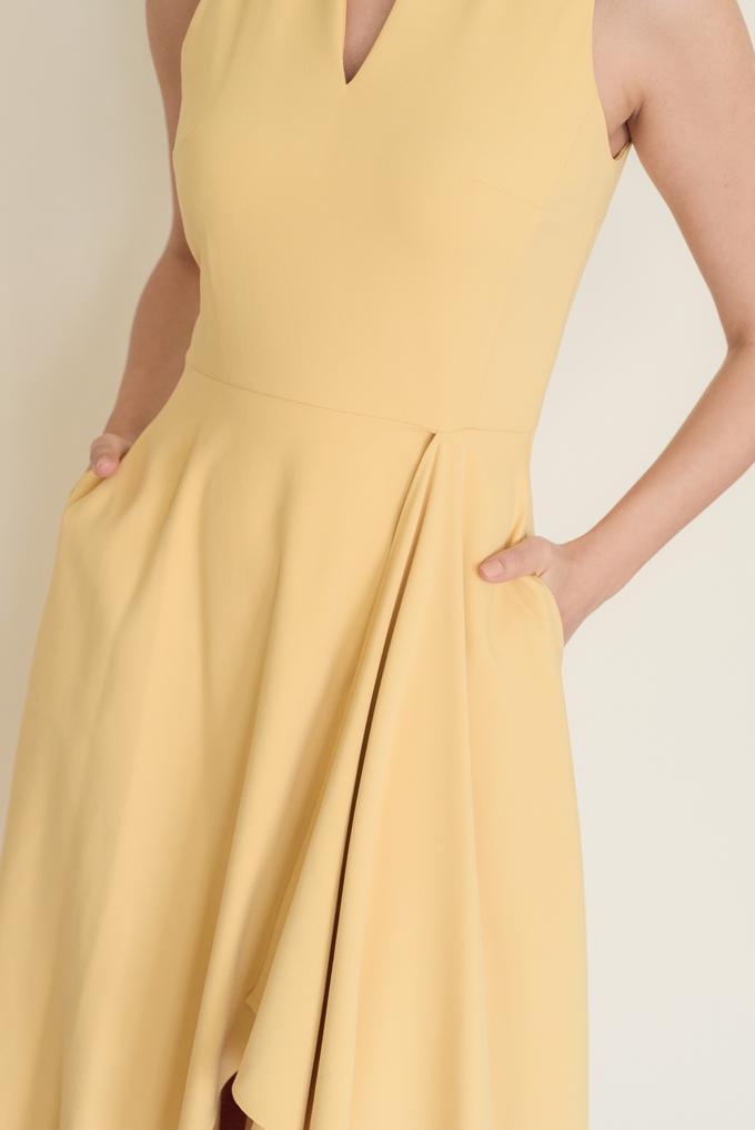 Sarı Volanlı Elbise