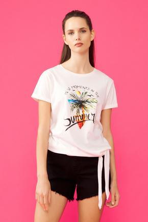 Bej Yandan Bağlamalı T-Shirt