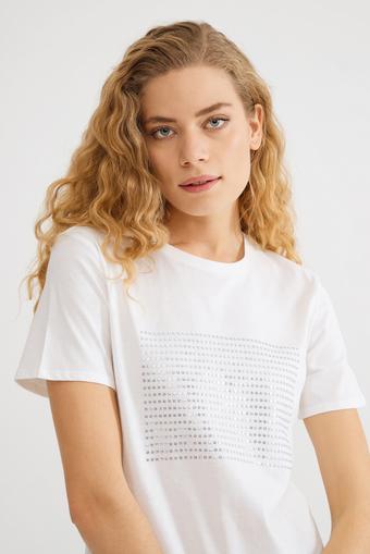 Bej Önü Pul Payet T-Shirt