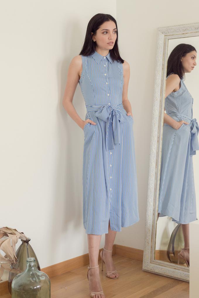Mavi Kolsuz Çizgili Elbise
