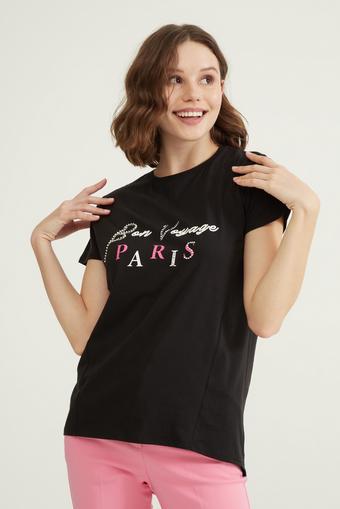 Siyah Taş İşlemeli Tişört