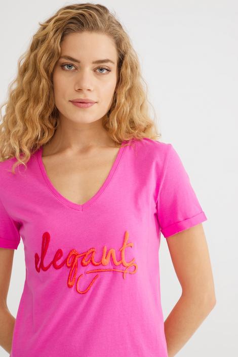 Pembe V Yakalı Tişört