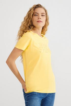 Sarı Baskılı Tişört