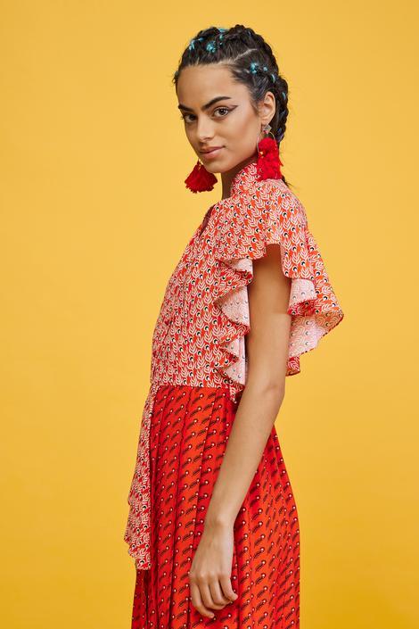 Kırmızı Pili Detaylı Elbise