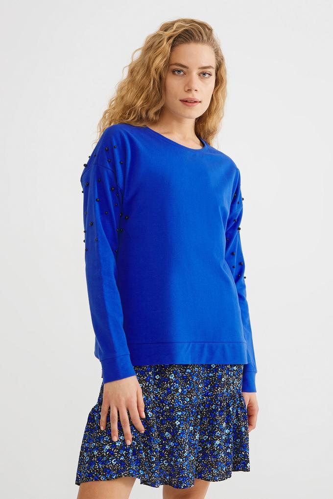 Mavi Yuvarlak Yaka Sweatshirt