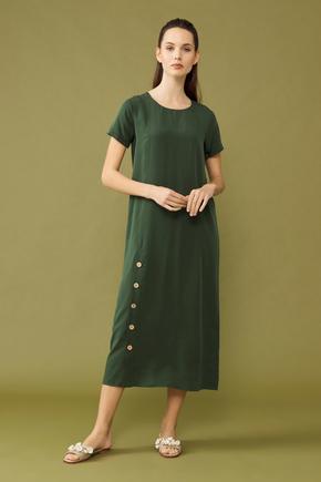 Yeşil Yırtmaçlı Elbise