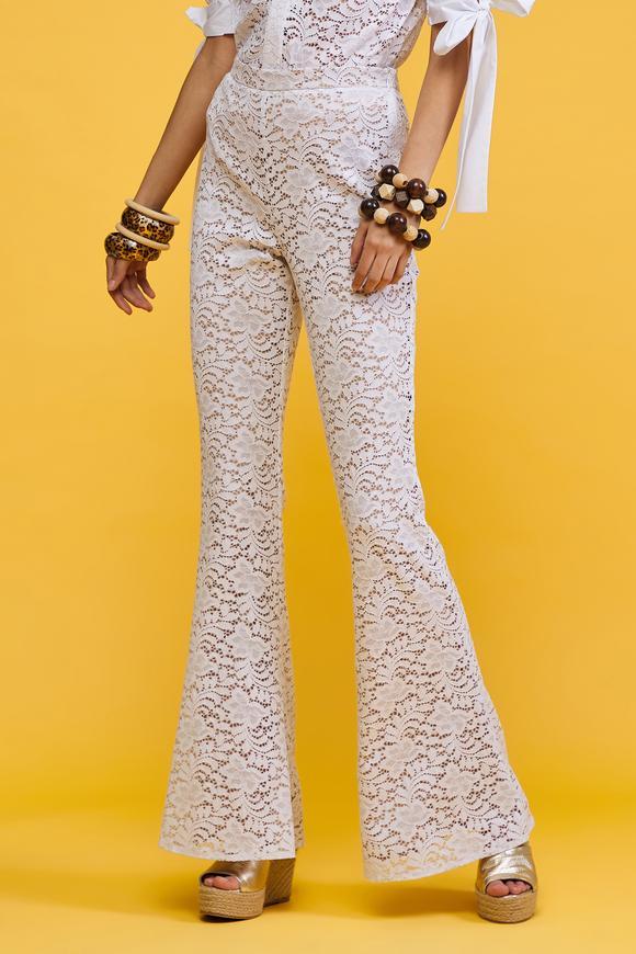Beyaz Dantel Pantolon
