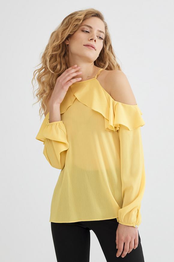 Sarı Volanlı Bluz