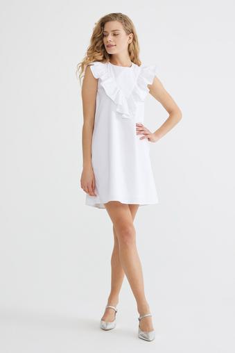 Beyaz Volanlı Elbise