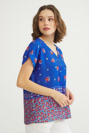 Mavi V Yakalı Bluz