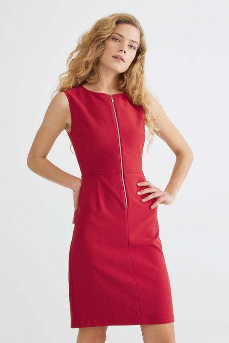 Bordo Önden Fermuarlı Elbise