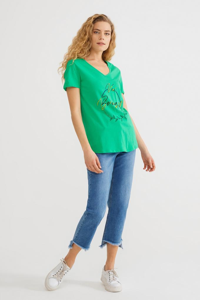 Yeşil Boncuk İşlemeli Tişört