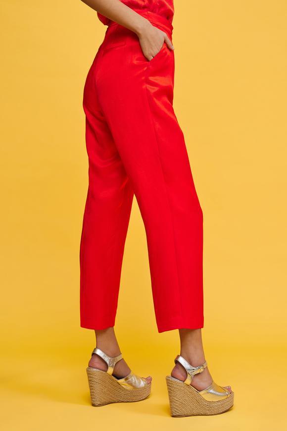 Kırmızı Bilek Boy Kalem Pantolon