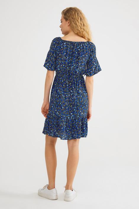 Mavi Omuzu Kapalı Elbise