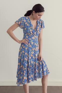 Kolları Volanlı Desenli Elbise