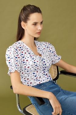 Kol Uçları Lastikli Önü Düğmeli Crop Bluz