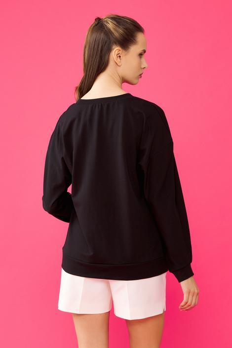 Siyah Düğmeli Sweatshirt