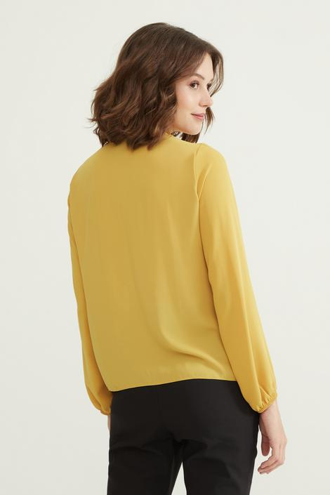 Sarı Önü Volanlı Bluz