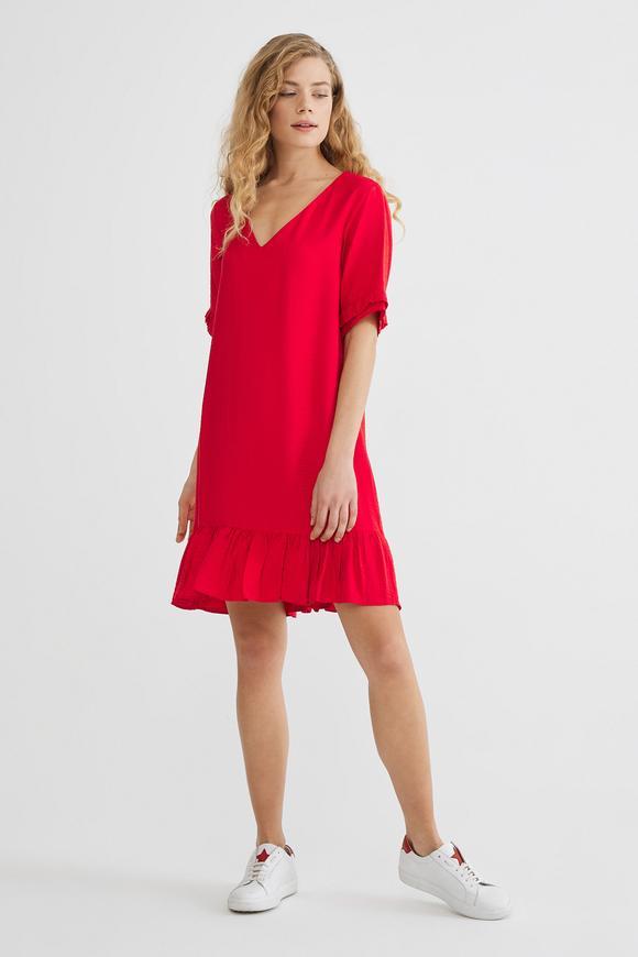 Kırmızı V Yaka Elbise