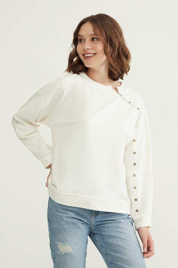 Bej Düğmeli Sweatshirt