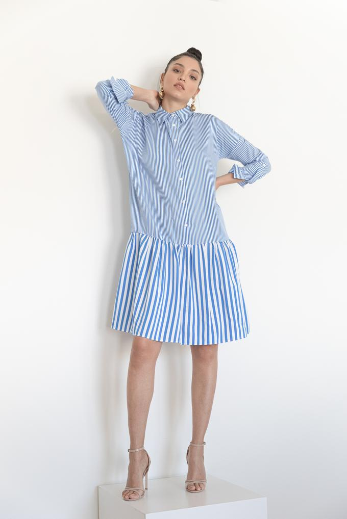 Mavi Çizgili Gömlek Elbise