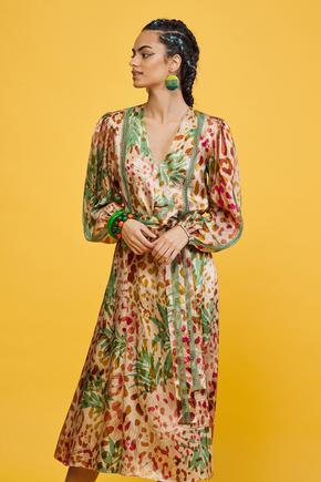 Yeşil Dantel Şeritli Elbise