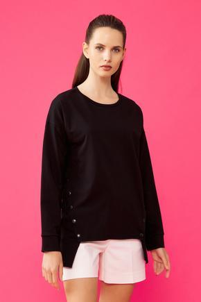 Siyah Yanları Çıtçıtlı Sweatshirt