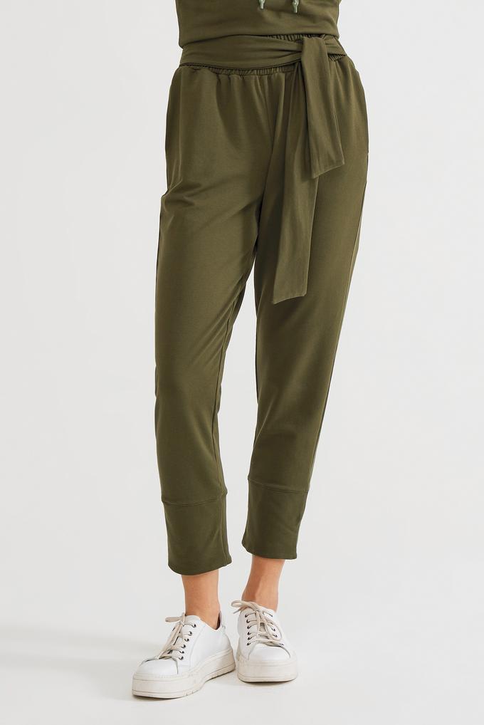 Yeşil Belden Bağlamalı Pantolon