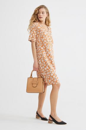 Turuncu V Yaka Elbise