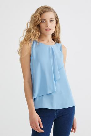 Mavi Volanlı Bluz