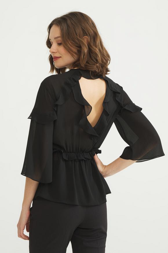 Siyah Volanlı Bluz