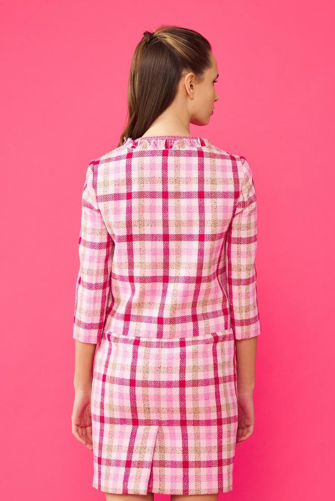 Pembe Yakası Çicekli Ceket