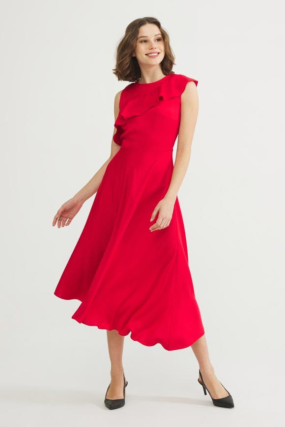 Kırmızı Volanlı Kolsuz Elbise