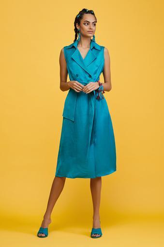 Mavi Sıfır Kol Elbise