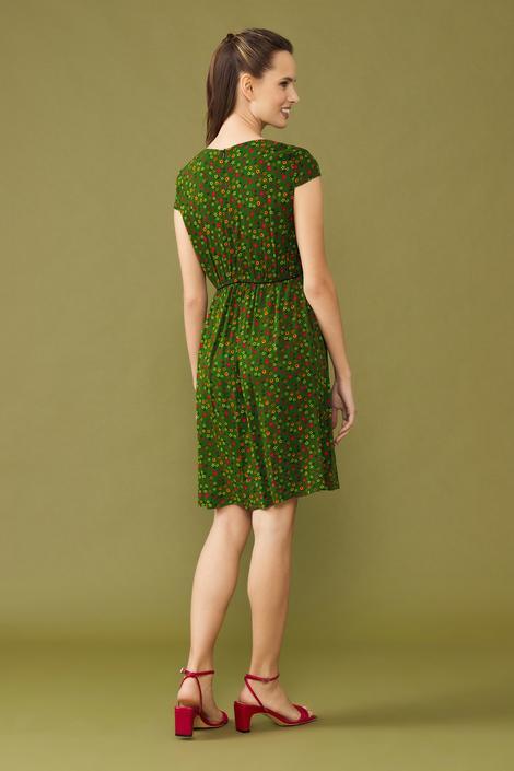 Yeşil Desenli Elbise