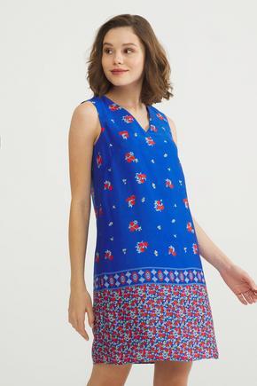 Mavi Desenli Kolsuz Elbise