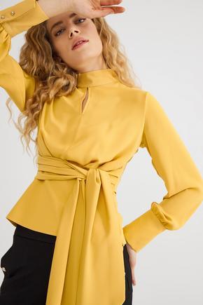 Sarı Beli Kuşaklı Bluz