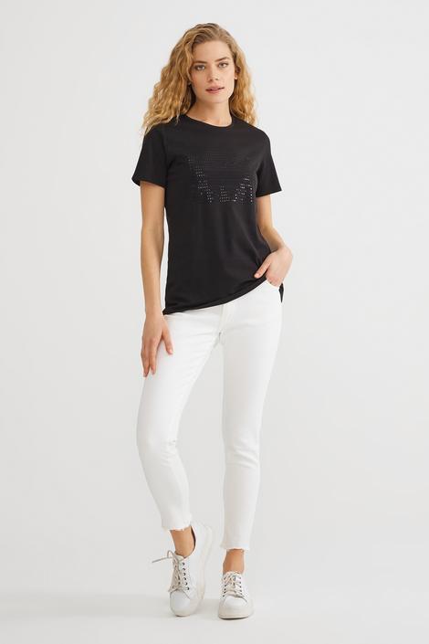 Siyah Önü Pul Payet T-Shirt
